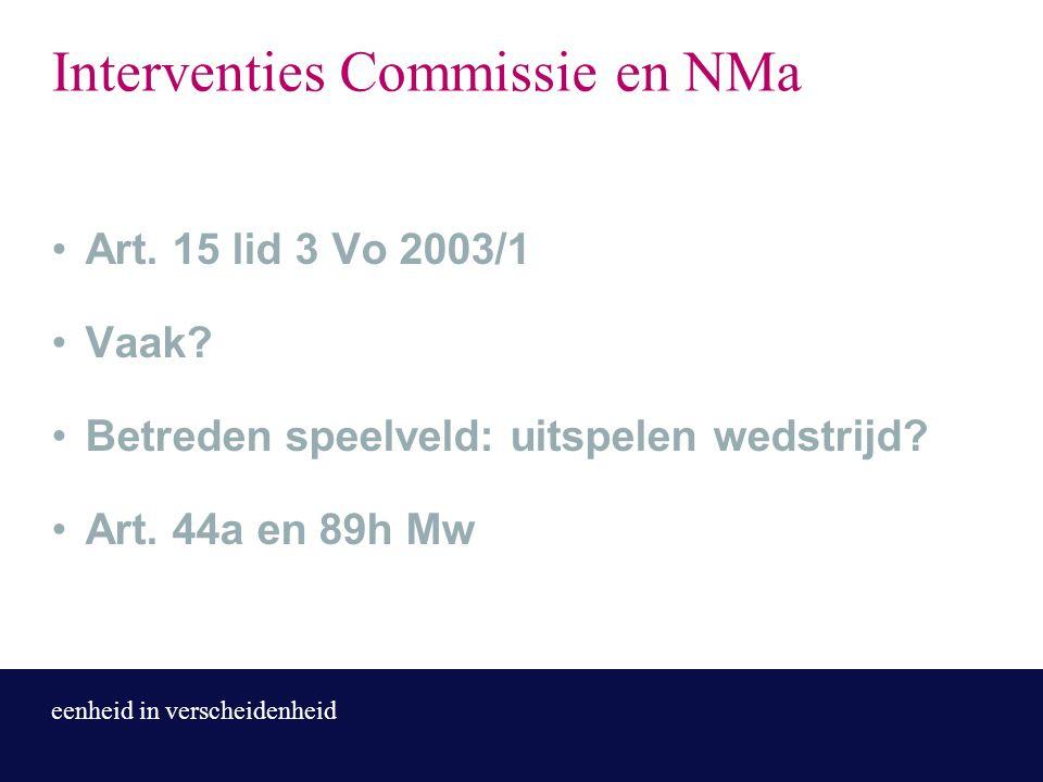 eenheid in verscheidenheid Interventies Commissie en NMa Art. 15 lid 3 Vo 2003/1 Vaak? Betreden speelveld: uitspelen wedstrijd? Art. 44a en 89h Mw