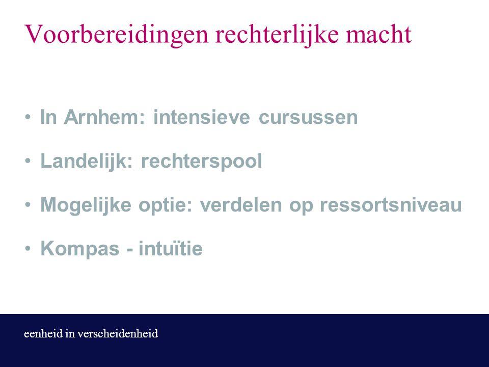 eenheid in verscheidenheid Voorbereidingen rechterlijke macht In Arnhem: intensieve cursussen Landelijk: rechterspool Mogelijke optie: verdelen op res