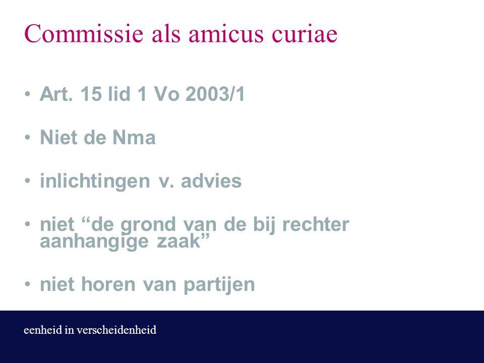 """eenheid in verscheidenheid Commissie als amicus curiae Art. 15 lid 1 Vo 2003/1 Niet de Nma inlichtingen v. advies niet """"de grond van de bij rechter aa"""
