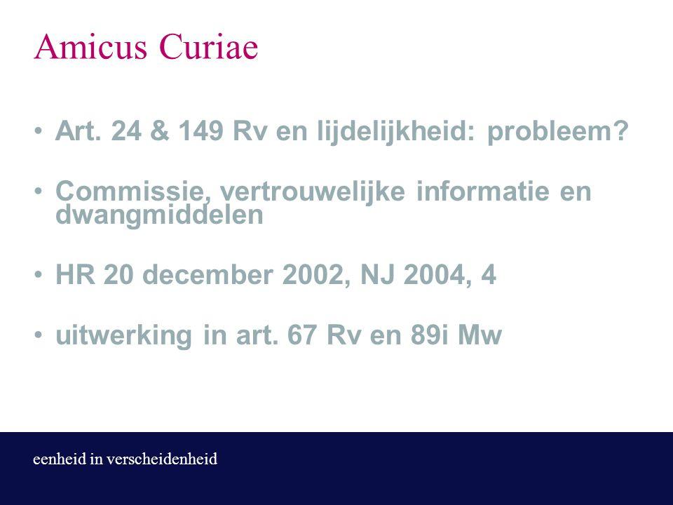 eenheid in verscheidenheid Amicus Curiae Art. 24 & 149 Rv en lijdelijkheid: probleem? Commissie, vertrouwelijke informatie en dwangmiddelen HR 20 dece