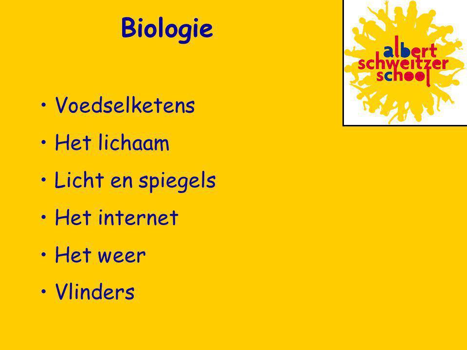 Voedselketens Het lichaam Licht en spiegels Het internet Het weer Vlinders Biologie
