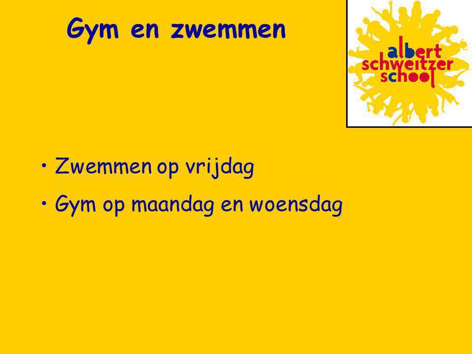 Zwemmen op vrijdag Gym op maandag en woensdag Gym en zwemmen
