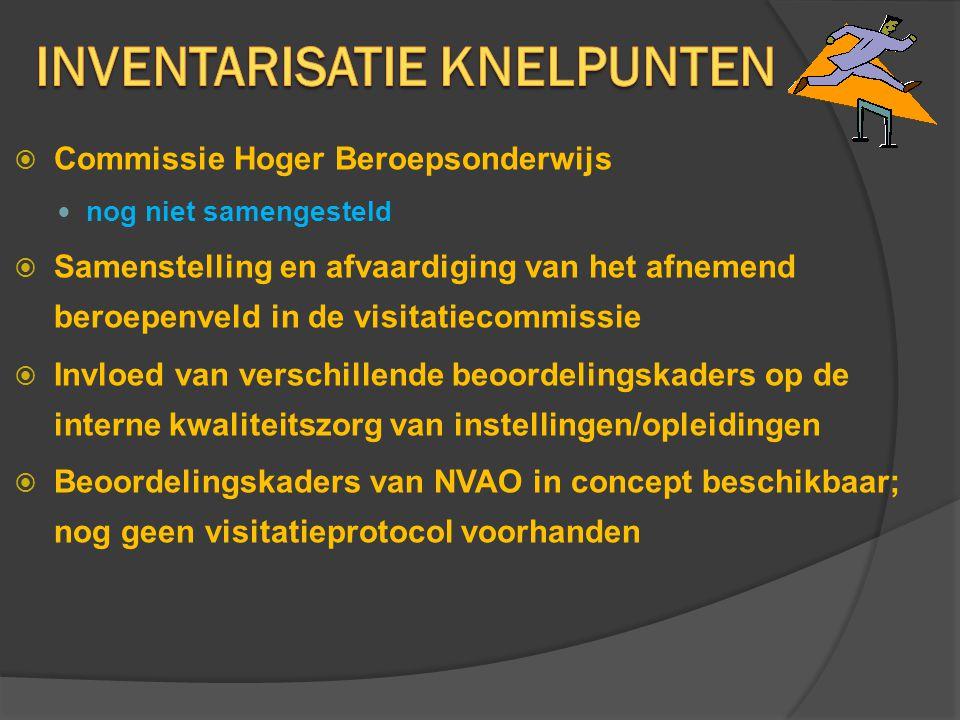  Commissie Hoger Beroepsonderwijs nog niet samengesteld  Samenstelling en afvaardiging van het afnemend beroepenveld in de visitatiecommissie  Invl