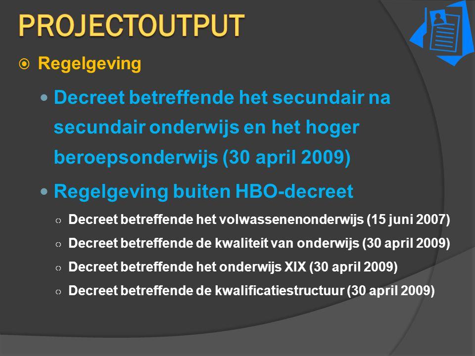  Regelgeving Decreet betreffende het secundair na secundair onderwijs en het hoger beroepsonderwijs (30 april 2009) Regelgeving buiten HBO-decreet ○