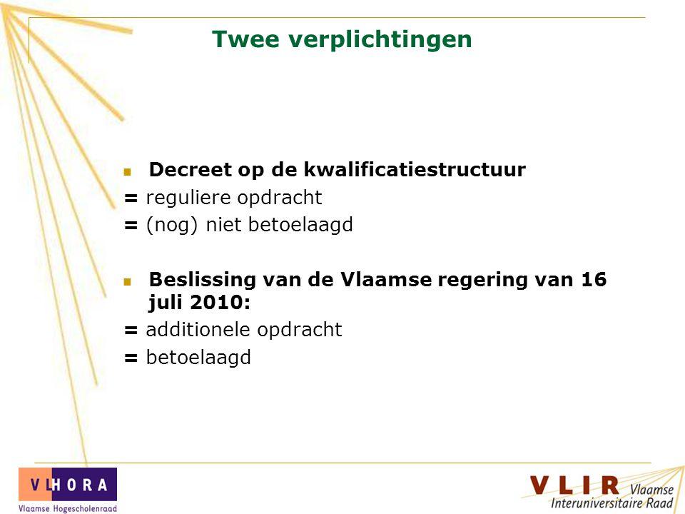 Twee verplichtingen Decreet op de kwalificatiestructuur = reguliere opdracht = (nog) niet betoelaagd Beslissing van de Vlaamse regering van 16 juli 2010: = additionele opdracht = betoelaagd