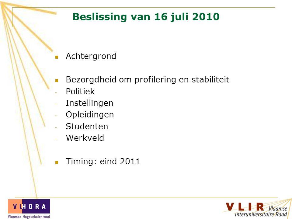Beslissing van 16 juli 2010 Achtergrond Bezorgdheid om profilering en stabiliteit - Politiek - Instellingen - Opleidingen - Studenten - Werkveld Timing: eind 2011