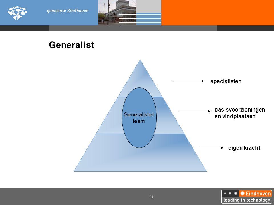 10 Generalist eigen kracht basisvoorzieningen en vindplaatsen specialisten Generalisten team