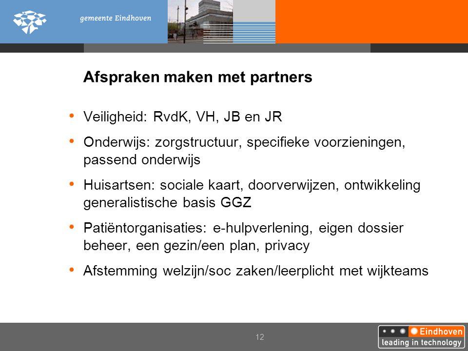 12 Afspraken maken met partners Veiligheid: RvdK, VH, JB en JR Onderwijs: zorgstructuur, specifieke voorzieningen, passend onderwijs Huisartsen: socia