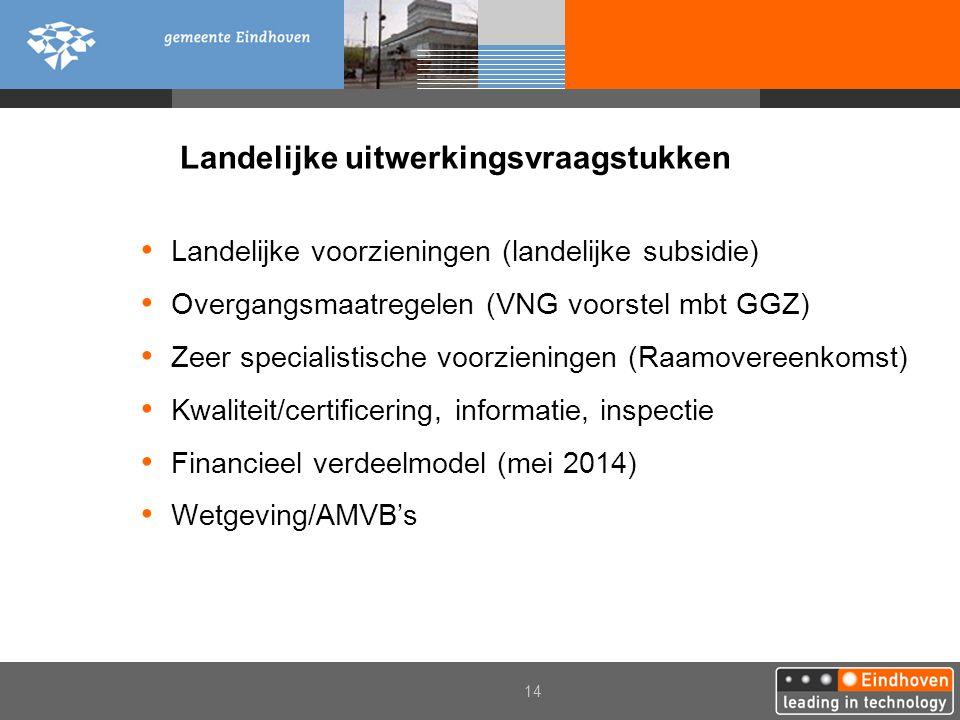 14 Landelijke uitwerkingsvraagstukken Landelijke voorzieningen (landelijke subsidie) Overgangsmaatregelen (VNG voorstel mbt GGZ) Zeer specialistische