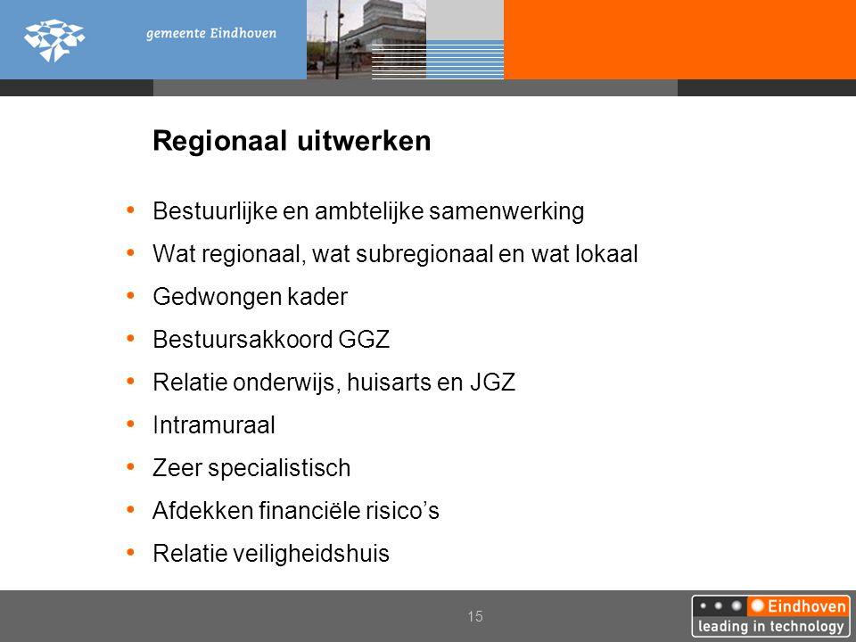 15 Regionaal uitwerken Bestuurlijke en ambtelijke samenwerking Wat regionaal, wat subregionaal en wat lokaal Gedwongen kader Bestuursakkoord GGZ Relat