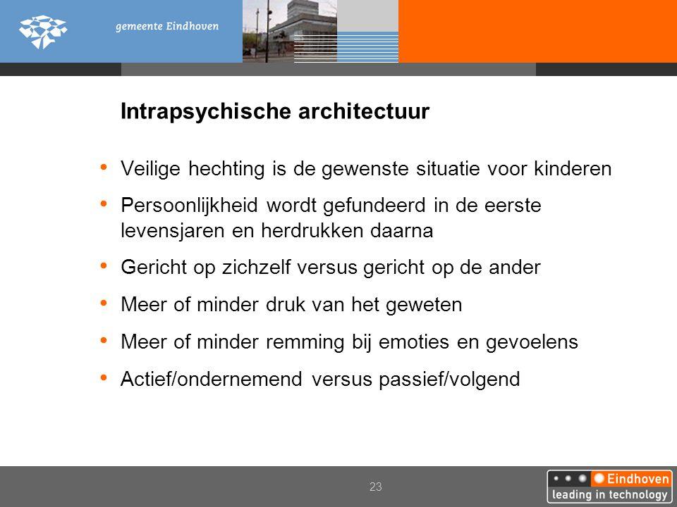 23 Intrapsychische architectuur Veilige hechting is de gewenste situatie voor kinderen Persoonlijkheid wordt gefundeerd in de eerste levensjaren en he