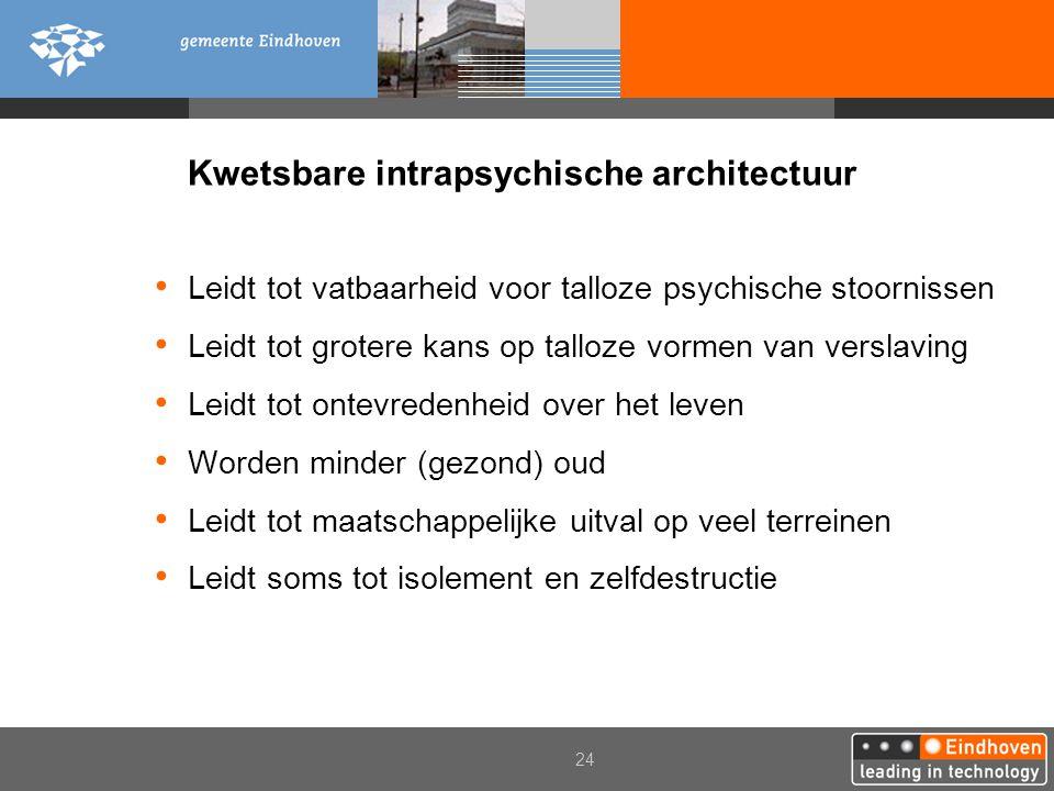 24 Kwetsbare intrapsychische architectuur Leidt tot vatbaarheid voor talloze psychische stoornissen Leidt tot grotere kans op talloze vormen van versl