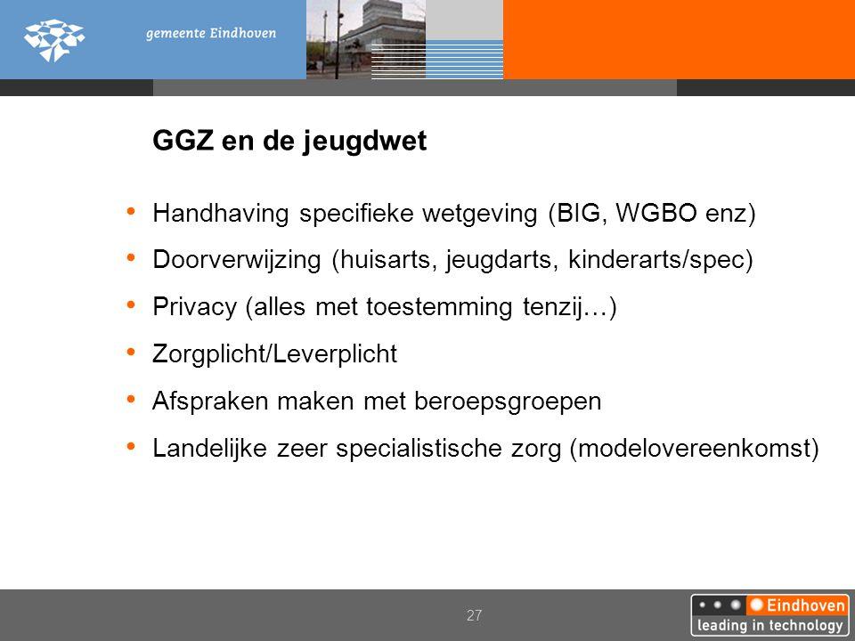 27 GGZ en de jeugdwet Handhaving specifieke wetgeving (BIG, WGBO enz) Doorverwijzing (huisarts, jeugdarts, kinderarts/spec) Privacy (alles met toestem