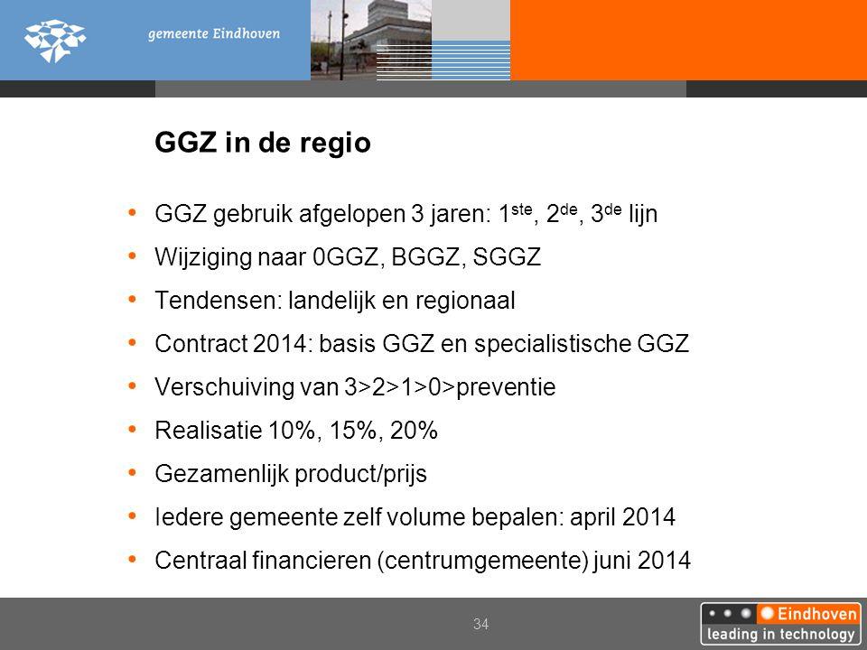 34 GGZ in de regio GGZ gebruik afgelopen 3 jaren: 1 ste, 2 de, 3 de lijn Wijziging naar 0GGZ, BGGZ, SGGZ Tendensen: landelijk en regionaal Contract 20