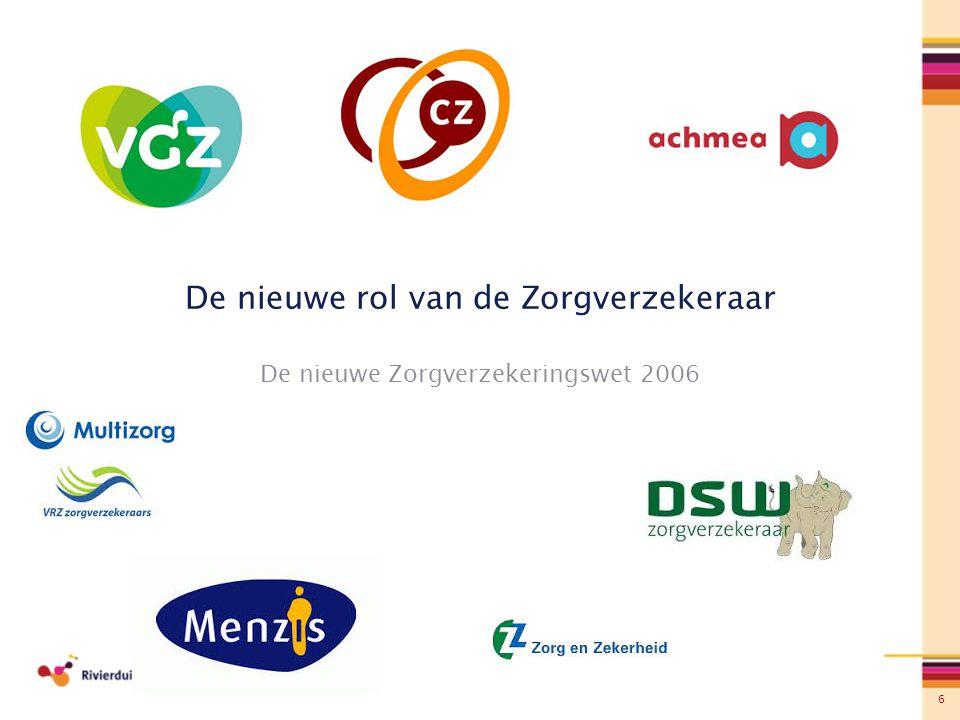 6 De nieuwe rol van de Zorgverzekeraar De nieuwe Zorgverzekeringswet 2006