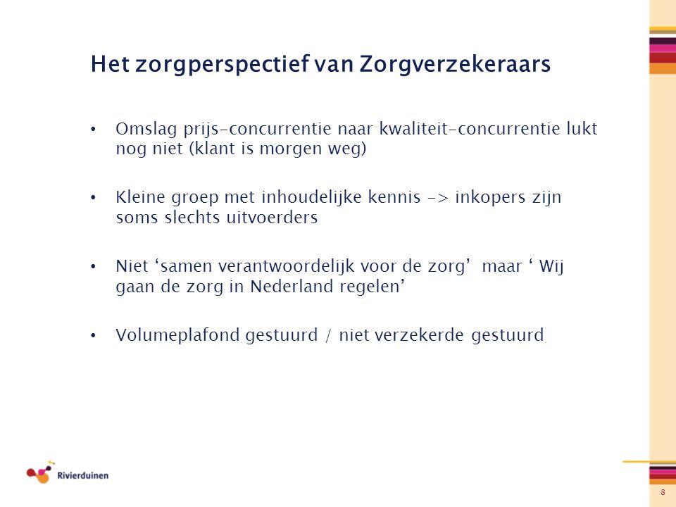 8 Het zorgperspectief van Zorgverzekeraars Omslag prijs-concurrentie naar kwaliteit-concurrentie lukt nog niet (klant is morgen weg) Kleine groep met