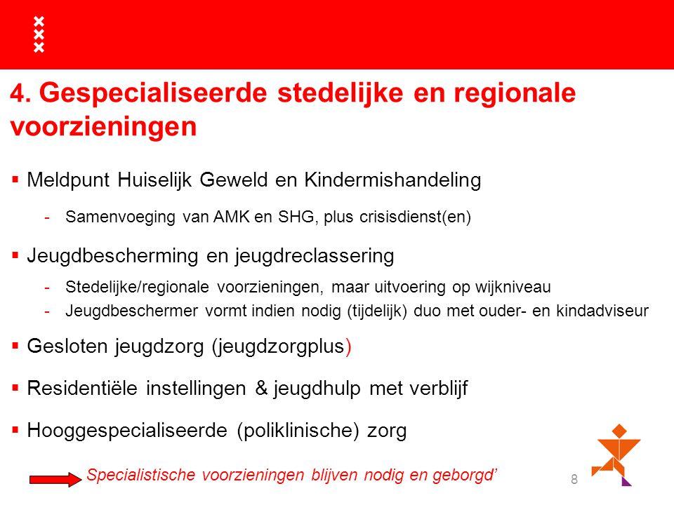 8 4. Gespecialiseerde stedelijke en regionale voorzieningen  Meldpunt Huiselijk Geweld en Kindermishandeling -Samenvoeging van AMK en SHG, plus crisi