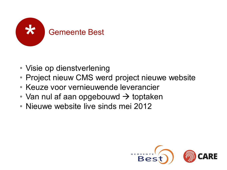 Gemeente Best Visie op dienstverlening Project nieuw CMS werd project nieuwe website Keuze voor vernieuwende leverancier Van nul af aan opgebouwd  toptaken Nieuwe website live sinds mei 2012 *