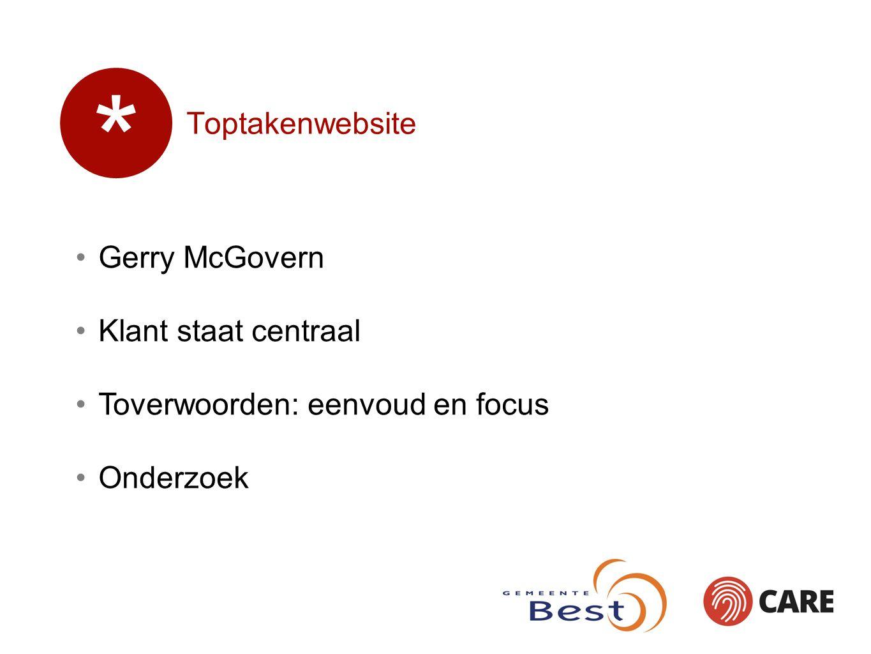 Toptakenwebsite Gerry McGovern Klant staat centraal Toverwoorden: eenvoud en focus Onderzoek *