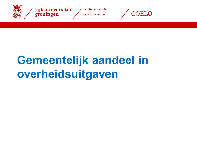 faculteit economie en bedrijfskunde COELO Gemeentelijk aandeel in overheidsuitgaven
