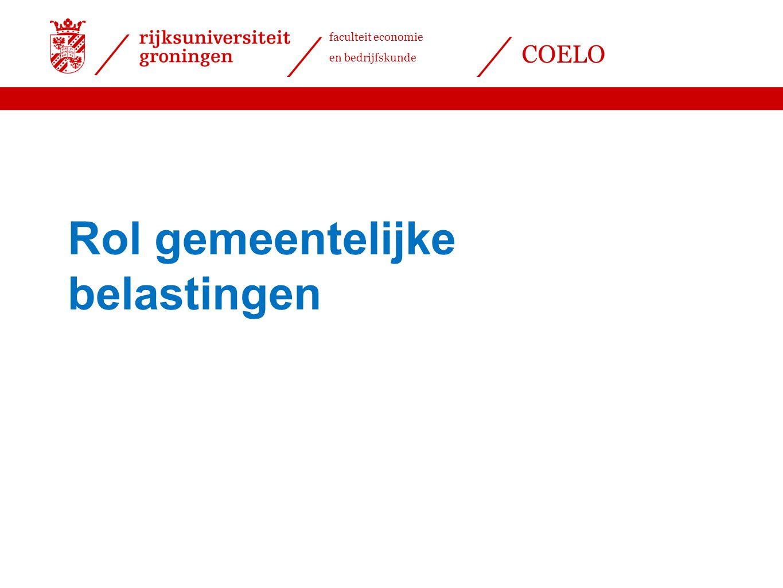 faculteit economie en bedrijfskunde COELO Rol gemeentelijke belastingen