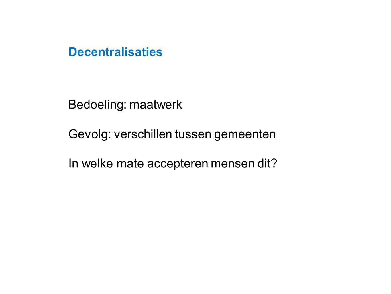 Datum 25.11.2008 Decentralisaties Bedoeling: maatwerk Gevolg: verschillen tussen gemeenten In welke mate accepteren mensen dit