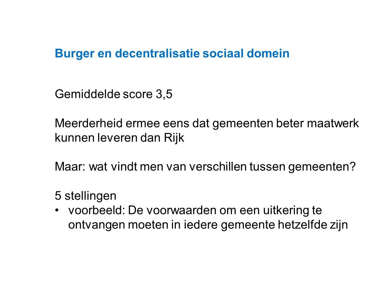 Datum 25.11.2008 Burger en decentralisatie sociaal domein Gemiddelde score 3,5 Meerderheid ermee eens dat gemeenten beter maatwerk kunnen leveren dan Rijk Maar: wat vindt men van verschillen tussen gemeenten.