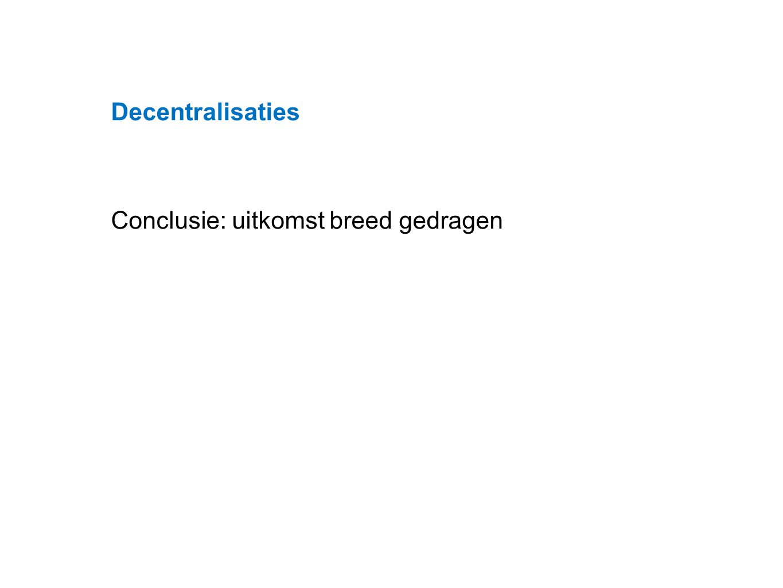 Datum 25.11.2008 Conclusie: uitkomst breed gedragen Decentralisaties