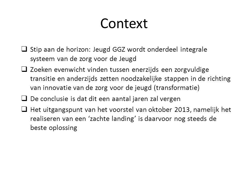 Context  Stip aan de horizon: Jeugd GGZ wordt onderdeel integrale systeem van de zorg voor de Jeugd  Zoeken evenwicht vinden tussen enerzijds een zorgvuldige transitie en anderzijds zetten noodzakelijke stappen in de richting van innovatie van de zorg voor de jeugd (transformatie)  De conclusie is dat dit een aantal jaren zal vergen  Het uitgangspunt van het voorstel van oktober 2013, namelijk het realiseren van een 'zachte landing' is daarvoor nog steeds de beste oplossing