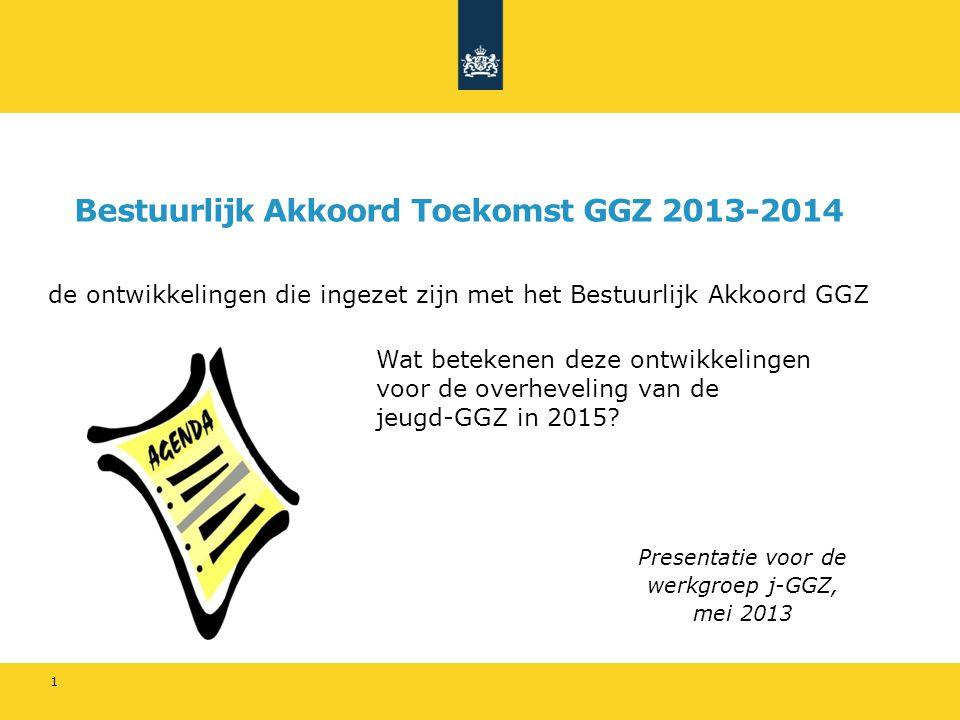 Bestuurlijk Akkoord Toekomst GGZ 2013-2014 de ontwikkelingen die ingezet zijn met het Bestuurlijk Akkoord GGZ 1 Presentatie voor de werkgroep j-GGZ, mei 2013 Wat betekenen deze ontwikkelingen voor de overheveling van de jeugd-GGZ in 2015?