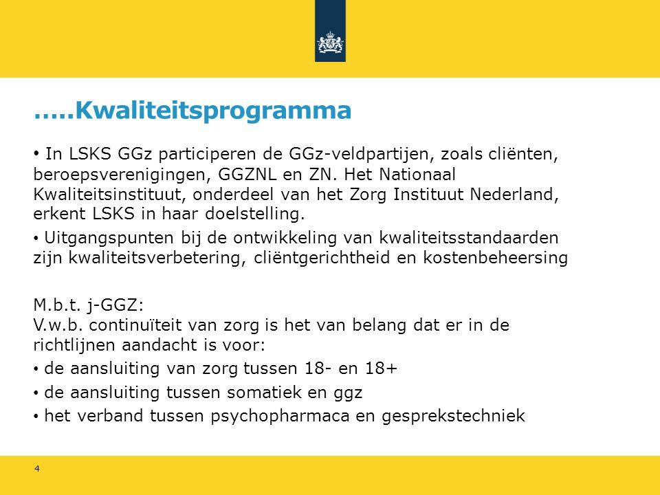 …..Kwaliteitsprogramma In LSKS GGz participeren de GGz-veldpartijen, zoals cliënten, beroepsverenigingen, GGZNL en ZN.