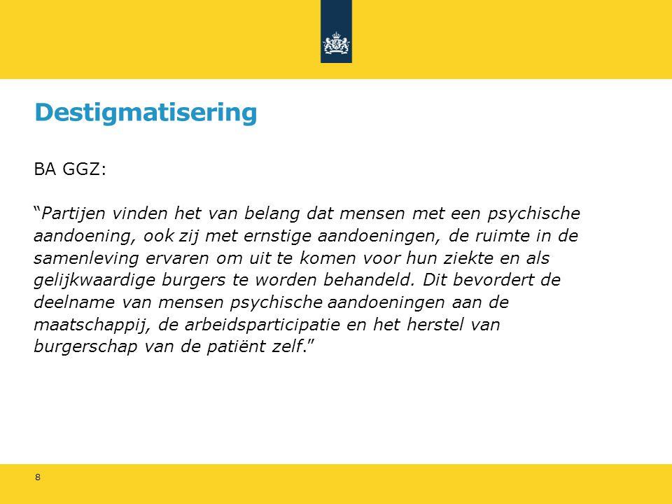 """Destigmatisering BA GGZ: """"Partijen vinden het van belang dat mensen met een psychische aandoening, ook zij met ernstige aandoeningen, de ruimte in de"""