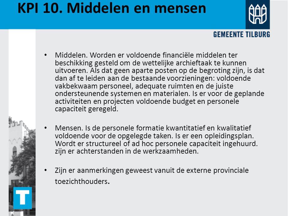 KPI 10. Middelen en mensen Middelen. Worden er voldoende financiële middelen ter beschikking gesteld om de wettelijke archieftaak te kunnen uitvoeren.