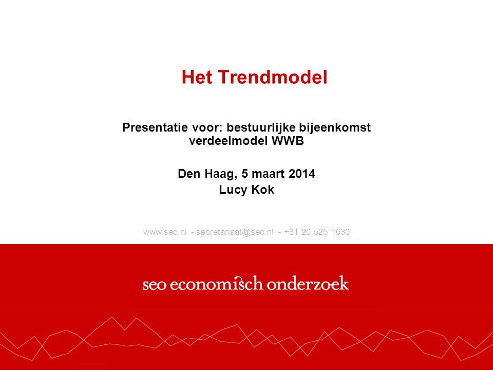 www.seo.nl - secretariaat@seo.nl - +31 20 525 1630 Het Trendmodel Presentatie voor: bestuurlijke bijeenkomst verdeelmodel WWB Den Haag, 5 maart 2014 Lucy Kok