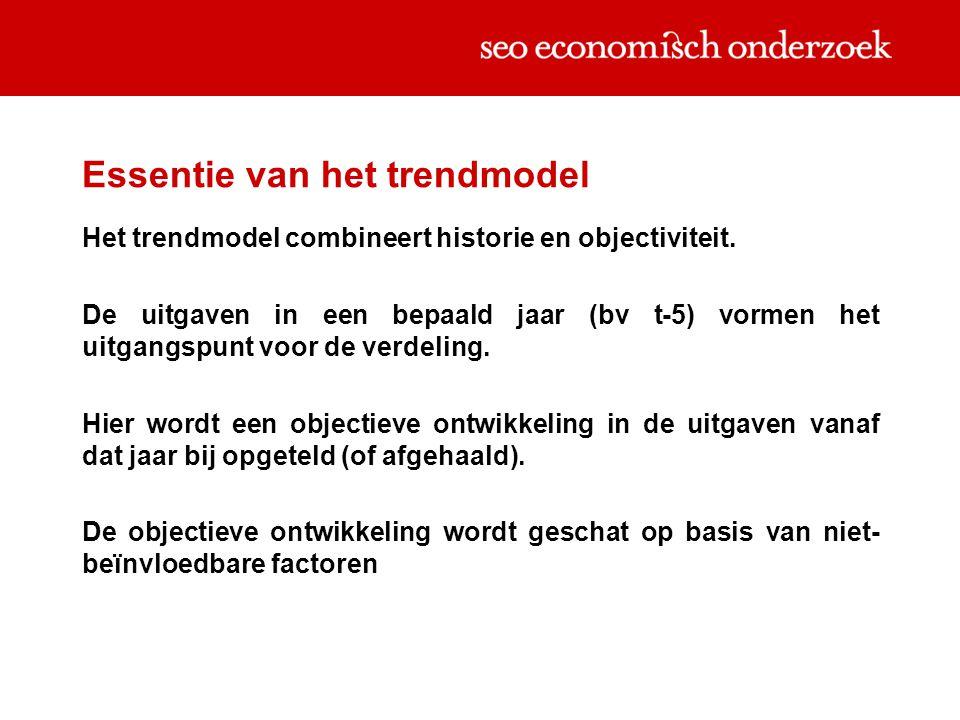 Essentie van het trendmodel Het trendmodel combineert historie en objectiviteit. De uitgaven in een bepaald jaar (bv t-5) vormen het uitgangspunt voor