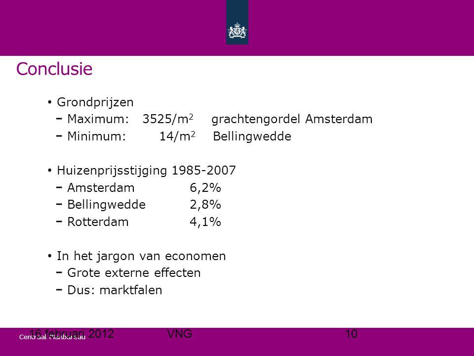 Centraal Planbureau Grondprijzen Maximum:3525/m 2 grachtengordel Amsterdam Minimum: 14/m 2 Bellingwedde Huizenprijsstijging 1985-2007 Amsterdam6,2% Bellingwedde2,8% Rotterdam4,1% In het jargon van economen Grote externe effecten Dus: marktfalen Conclusie 16 februari 201210VNG