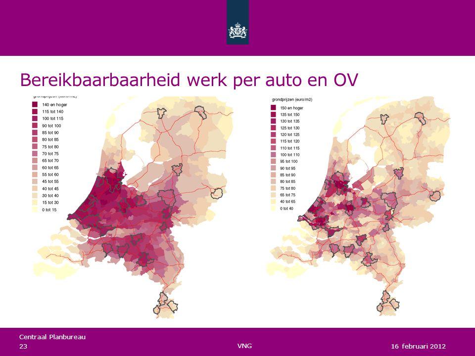 Centraal Planbureau Bereikbaarbaarheid werk per auto en OV 16 februari 2012 23 VNG