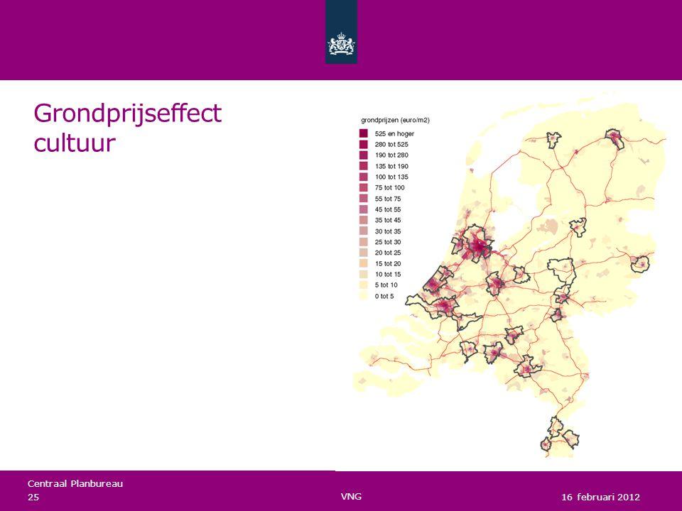 Centraal Planbureau Grondprijseffect cultuur 16 februari 2012 25 VNG