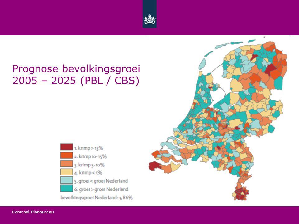 Centraal Planbureau Prognose bevolkingsgroei 2005 – 2025 (PBL / CBS)