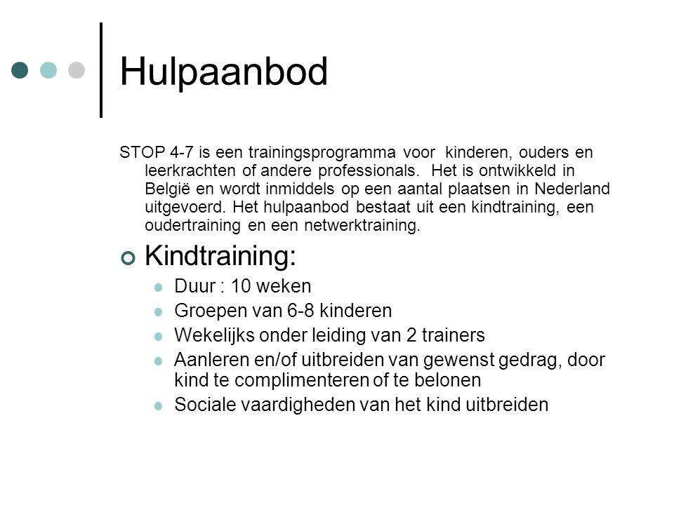 Hulpaanbod STOP 4-7 is een trainingsprogramma voor kinderen, ouders en leerkrachten of andere professionals. Het is ontwikkeld in België en wordt inmi