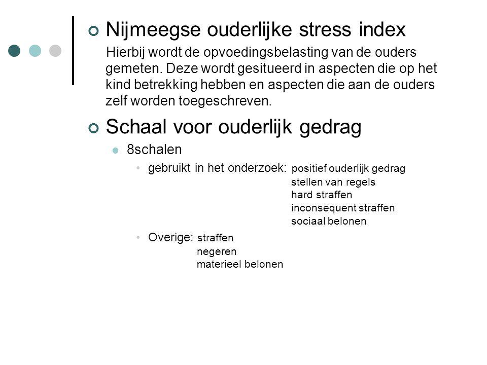 Nijmeegse ouderlijke stress index Hierbij wordt de opvoedingsbelasting van de ouders gemeten. Deze wordt gesitueerd in aspecten die op het kind betrek
