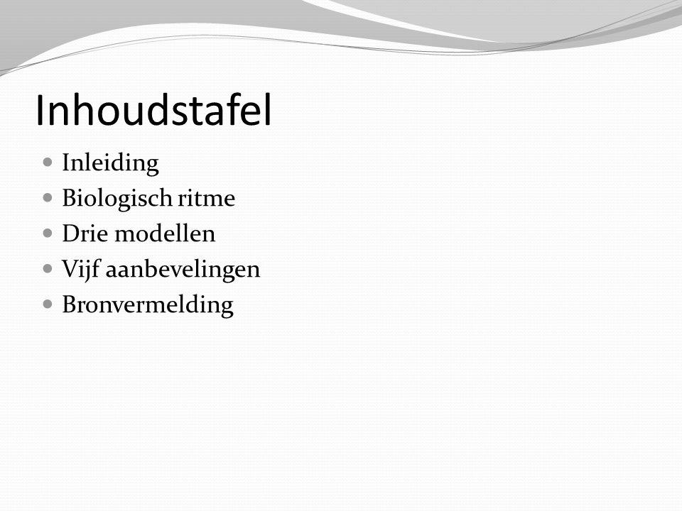 Inhoudstafel Inleiding Biologisch ritme Drie modellen Vijf aanbevelingen Bronvermelding