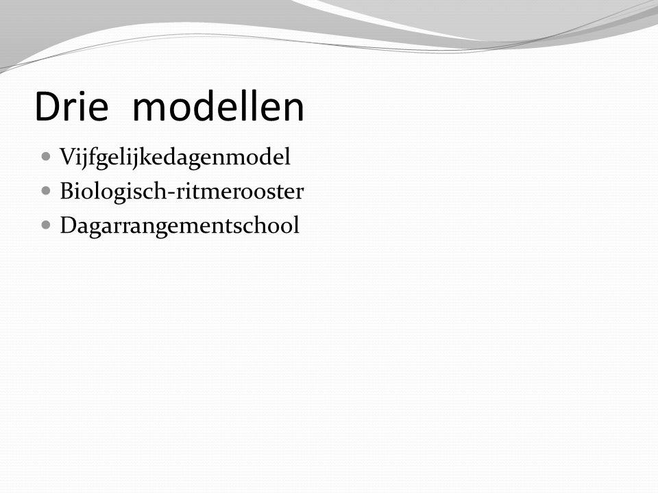 Drie modellen Vijfgelijkedagenmodel Biologisch-ritmerooster Dagarrangementschool