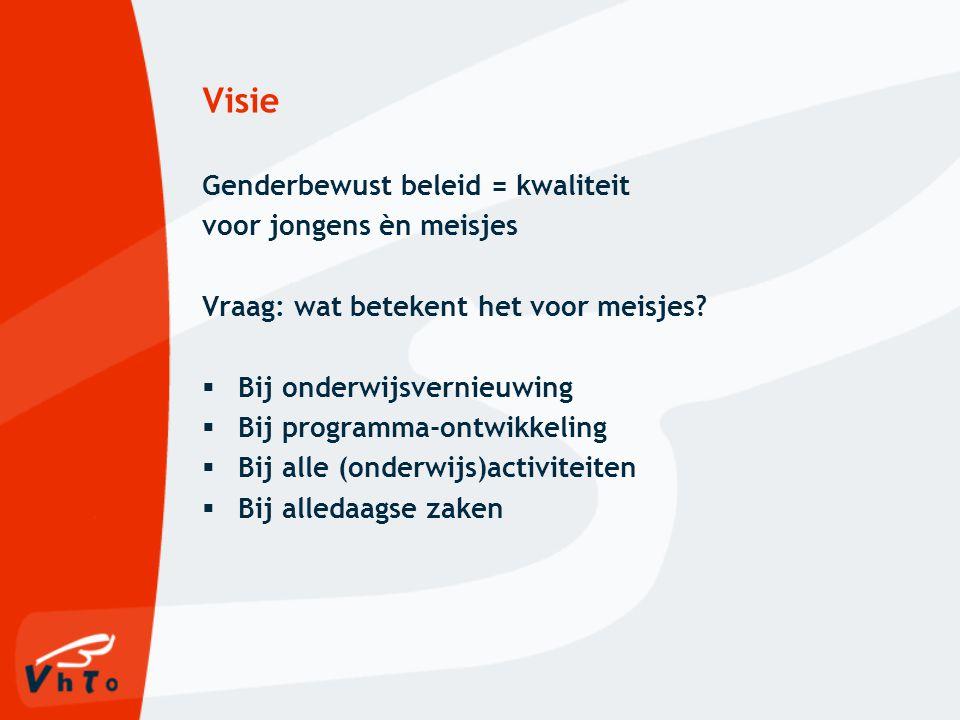 Visie Genderbewust beleid = kwaliteit voor jongens èn meisjes Vraag: wat betekent het voor meisjes.