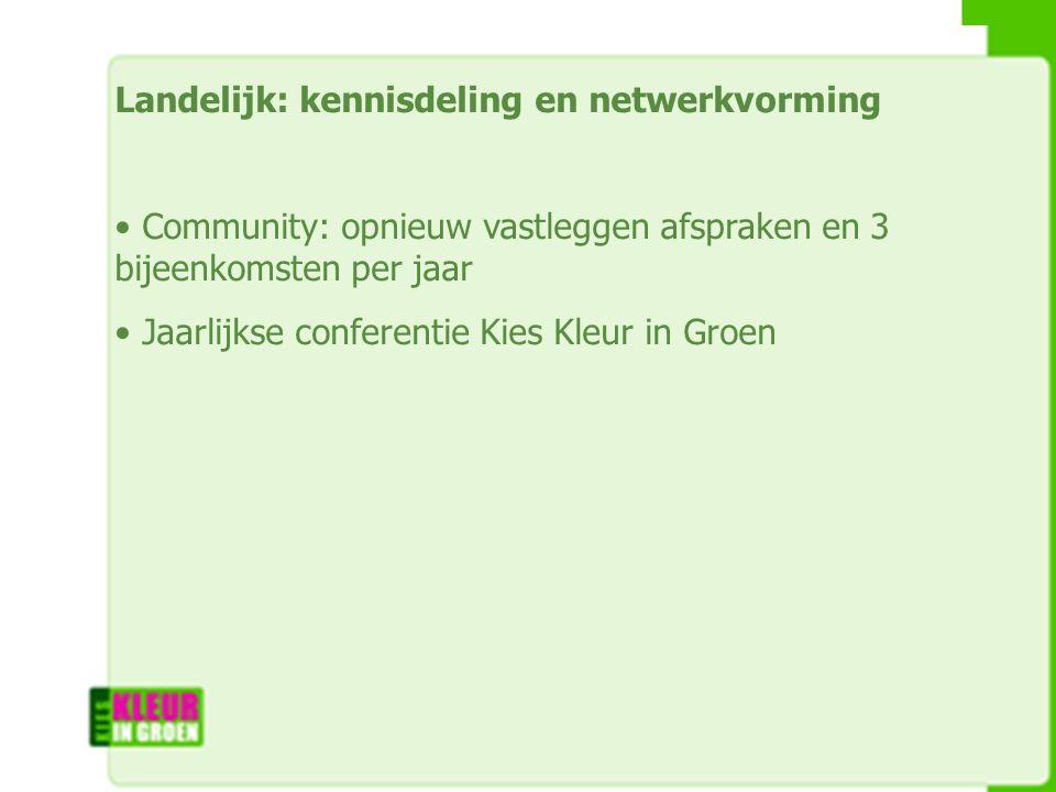 Landelijk: kennisdeling en netwerkvorming Community: opnieuw vastleggen afspraken en 3 bijeenkomsten per jaar Jaarlijkse conferentie Kies Kleur in Groen