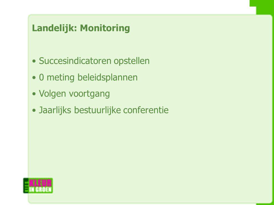 Landelijk: Monitoring Succesindicatoren opstellen 0 meting beleidsplannen Volgen voortgang Jaarlijks bestuurlijke conferentie