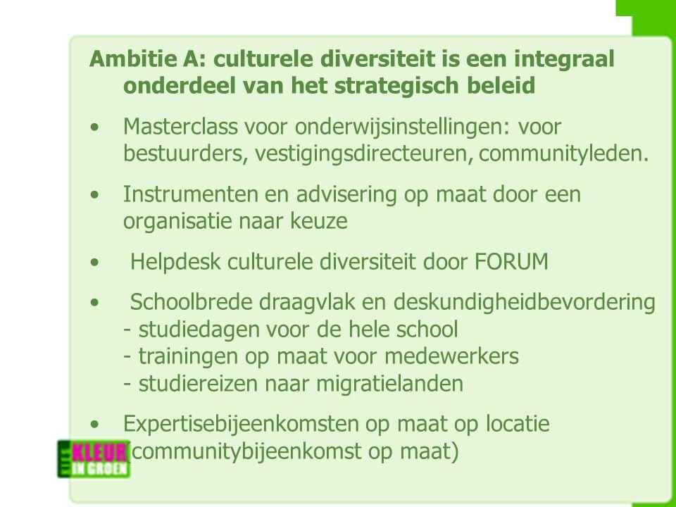 Ambitie A: culturele diversiteit is een integraal onderdeel van het strategisch beleid Masterclass voor onderwijsinstellingen: voor bestuurders, vestigingsdirecteuren, communityleden.