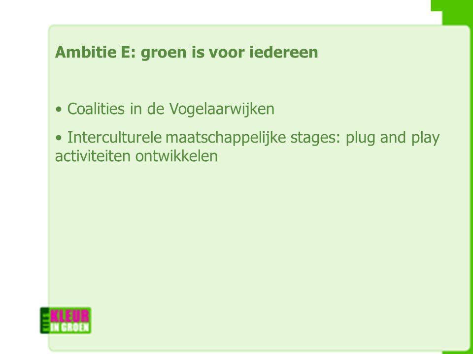Ambitie E: groen is voor iedereen Coalities in de Vogelaarwijken Interculturele maatschappelijke stages: plug and play activiteiten ontwikkelen
