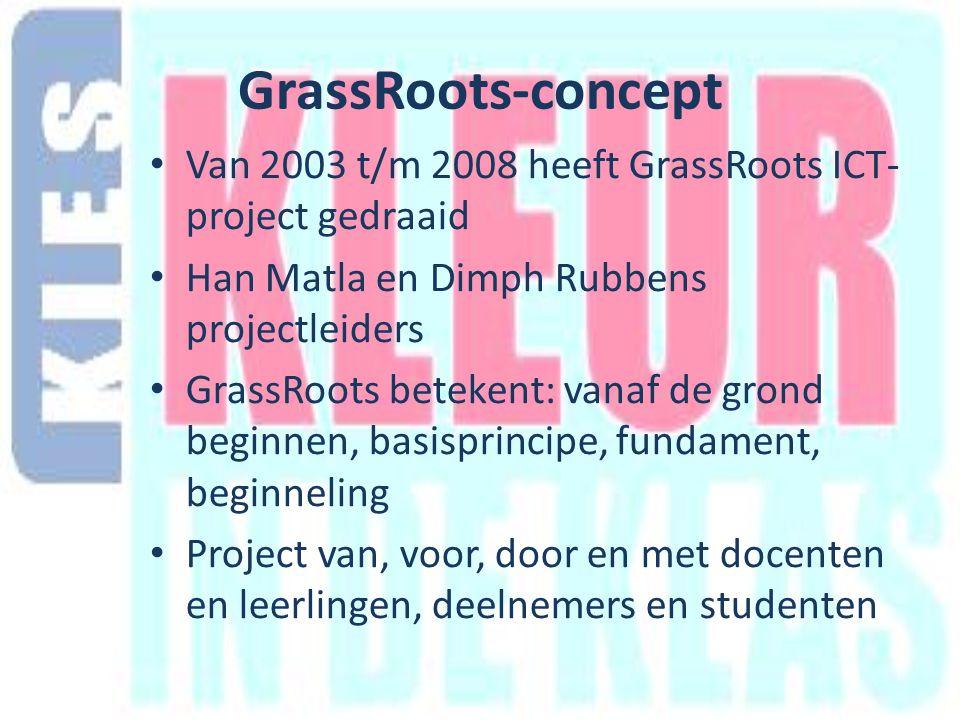 GrassRoots-concept Van 2003 t/m 2008 heeft GrassRoots ICT- project gedraaid Han Matla en Dimph Rubbens projectleiders GrassRoots betekent: vanaf de grond beginnen, basisprincipe, fundament, beginneling Project van, voor, door en met docenten en leerlingen, deelnemers en studenten