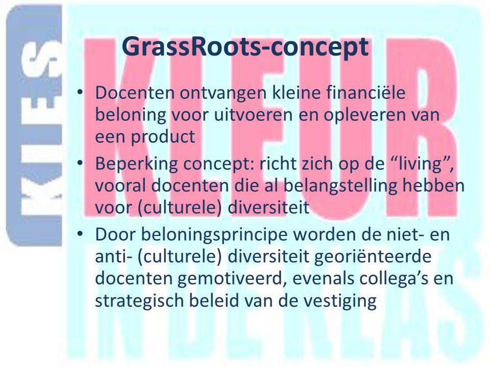 GrassRoots-concept Docenten ontvangen kleine financiële beloning voor uitvoeren en opleveren van een product Beperking concept: richt zich op de living , vooral docenten die al belangstelling hebben voor (culturele) diversiteit Door beloningsprincipe worden de niet- en anti- (culturele) diversiteit georiënteerde docenten gemotiveerd, evenals collega's en strategisch beleid van de vestiging